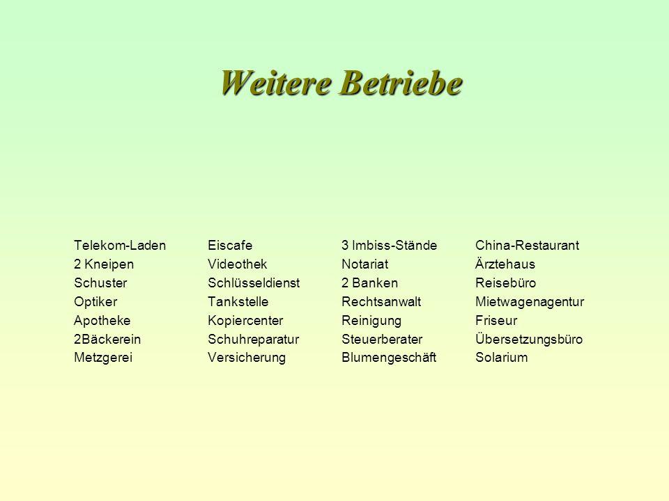 Weitere Betriebe Telekom-LadenEiscafe3 Imbiss-StändeChina-Restaurant 2 KneipenVideothekNotariatÄrztehaus SchusterSchlüsseldienst2 BankenReisebüro Opti
