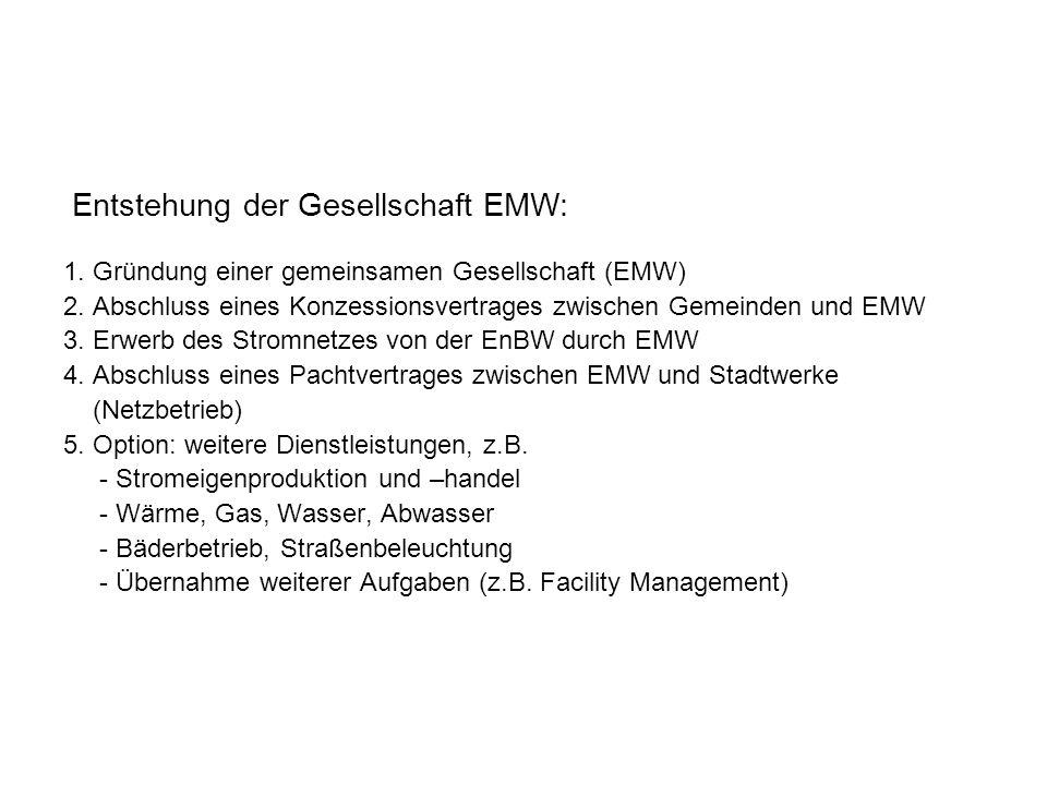 1. Gründung einer gemeinsamen Gesellschaft (EMW) 2. Abschluss eines Konzessionsvertrages zwischen Gemeinden und EMW 3. Erwerb des Stromnetzes von der