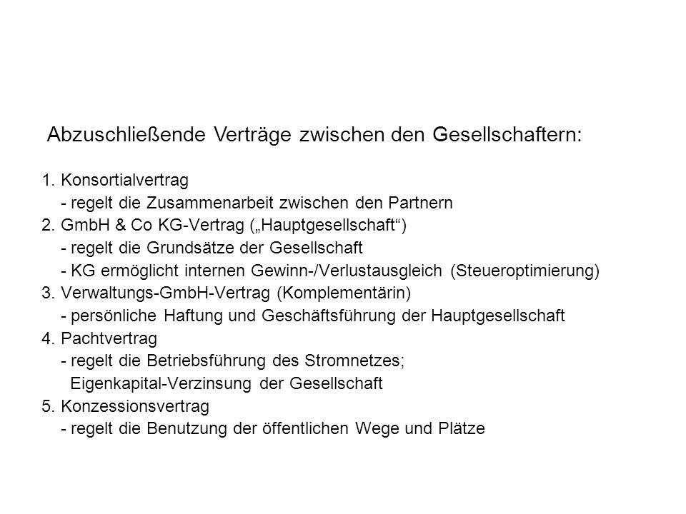 """1. Konsortialvertrag - regelt die Zusammenarbeit zwischen den Partnern 2. GmbH & Co KG-Vertrag (""""Hauptgesellschaft"""") - regelt die Grundsätze der Gesel"""