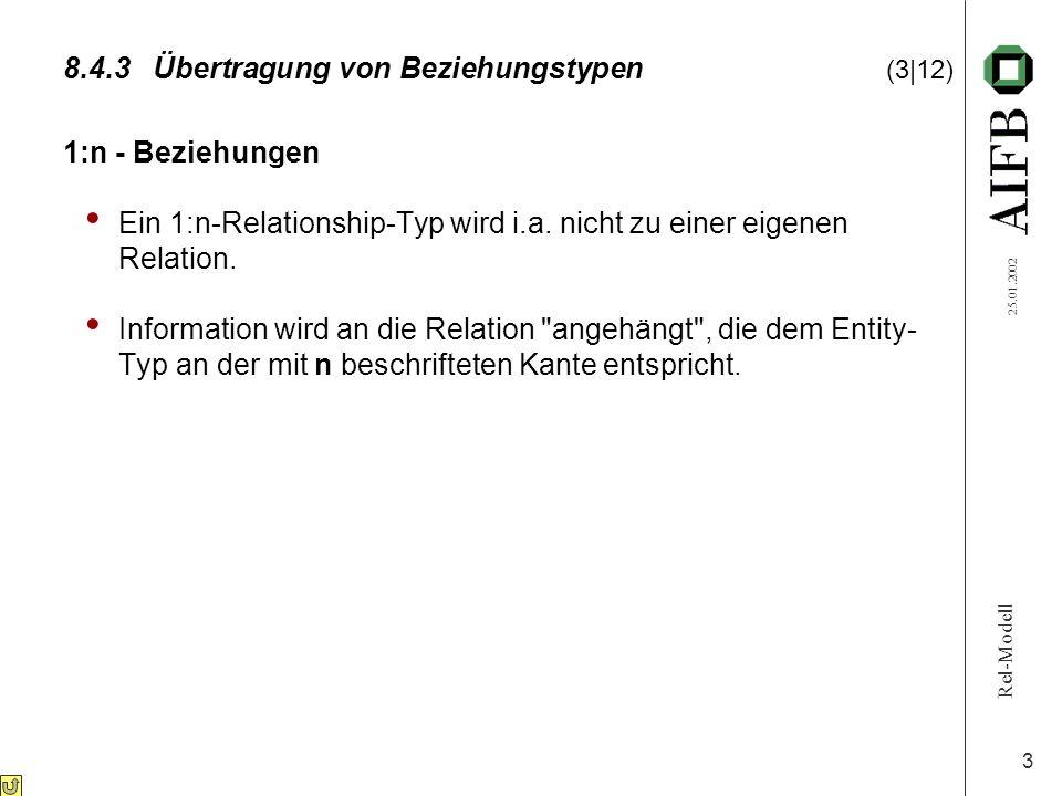 Rel-Modell 25.01.2002 3 8.4.3Übertragung von Beziehungstypen (3|12) 1:n - Beziehungen Ein 1:n-Relationship-Typ wird i.a. nicht zu einer eigenen Relati