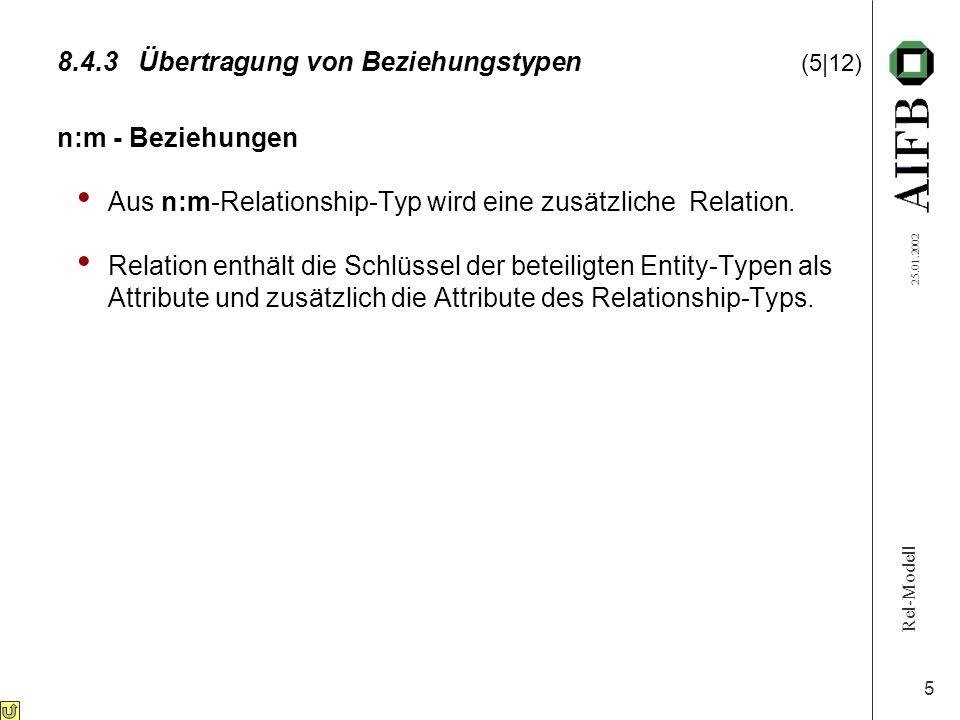 Rel-Modell 25.01.2002 5 8.4.3Übertragung von Beziehungstypen (5|12) n:m - Beziehungen Aus n:m-Relationship-Typ wird eine zusätzliche Relation. Relatio