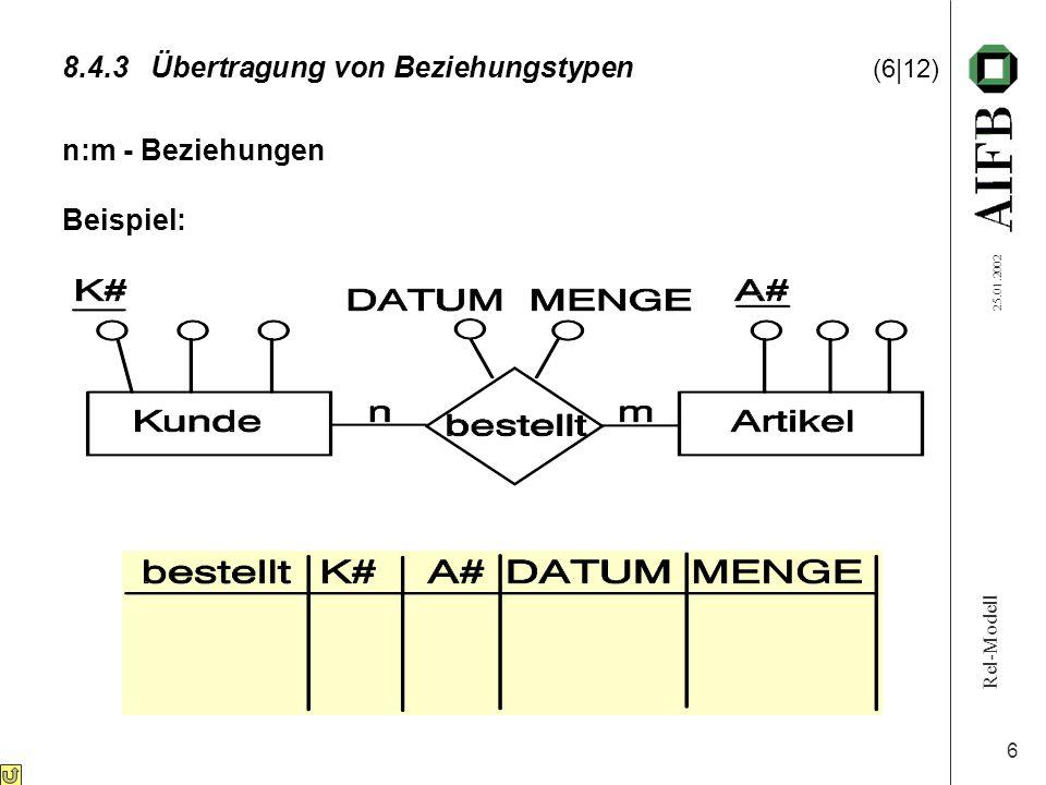 Rel-Modell 25.01.2002 6 8.4.3Übertragung von Beziehungstypen (6|12) n:m - Beziehungen Beispiel: