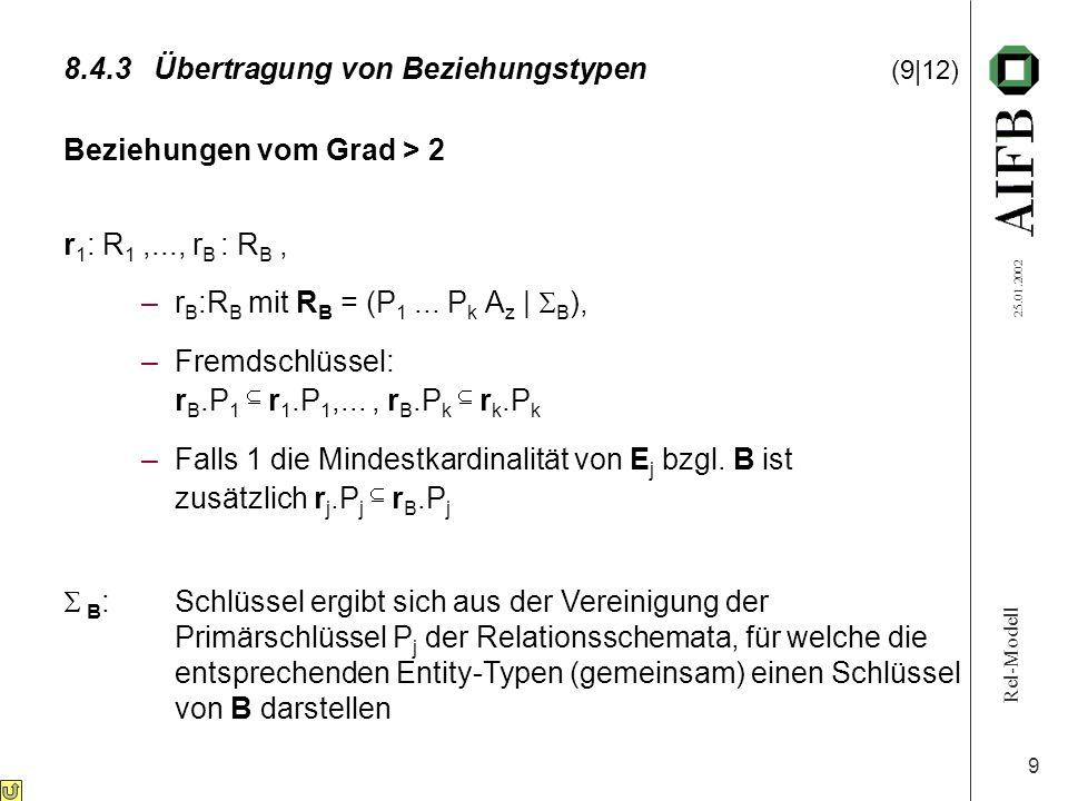 Rel-Modell 25.01.2002 9 8.4.3Übertragung von Beziehungstypen (9|12) Beziehungen vom Grad > 2 r 1 : R 1,..., r B : R B, –r B :R B mit R B = (P 1... P k