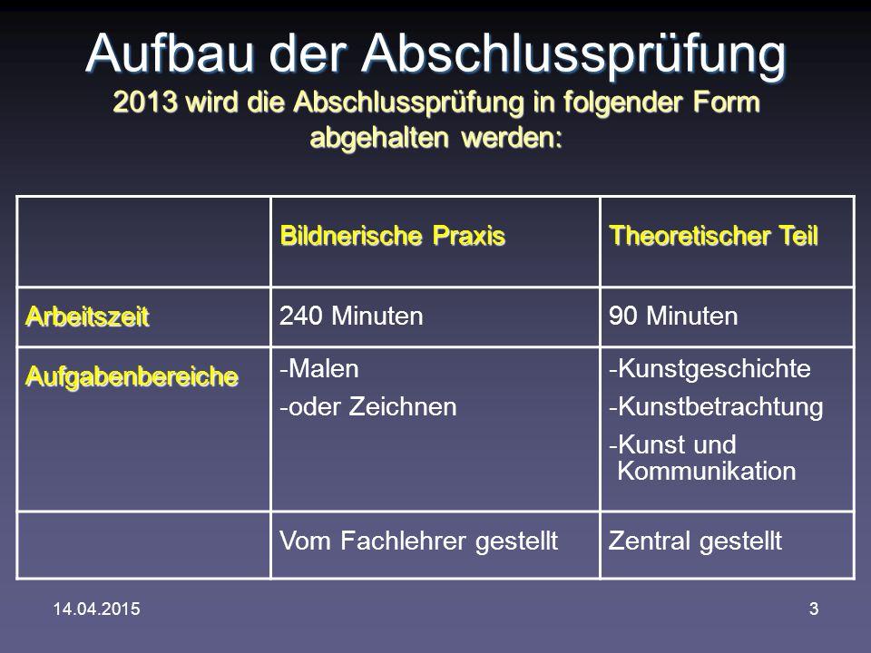 14.04.20153 Aufbau der Abschlussprüfung 2013 wird die Abschlussprüfung in folgender Form abgehalten werden: Bildnerische Praxis Theoretischer Teil Arb