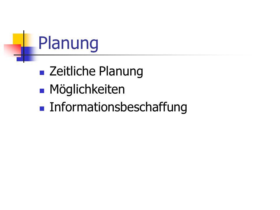Planung Zeitliche Planung Möglichkeiten Informationsbeschaffung