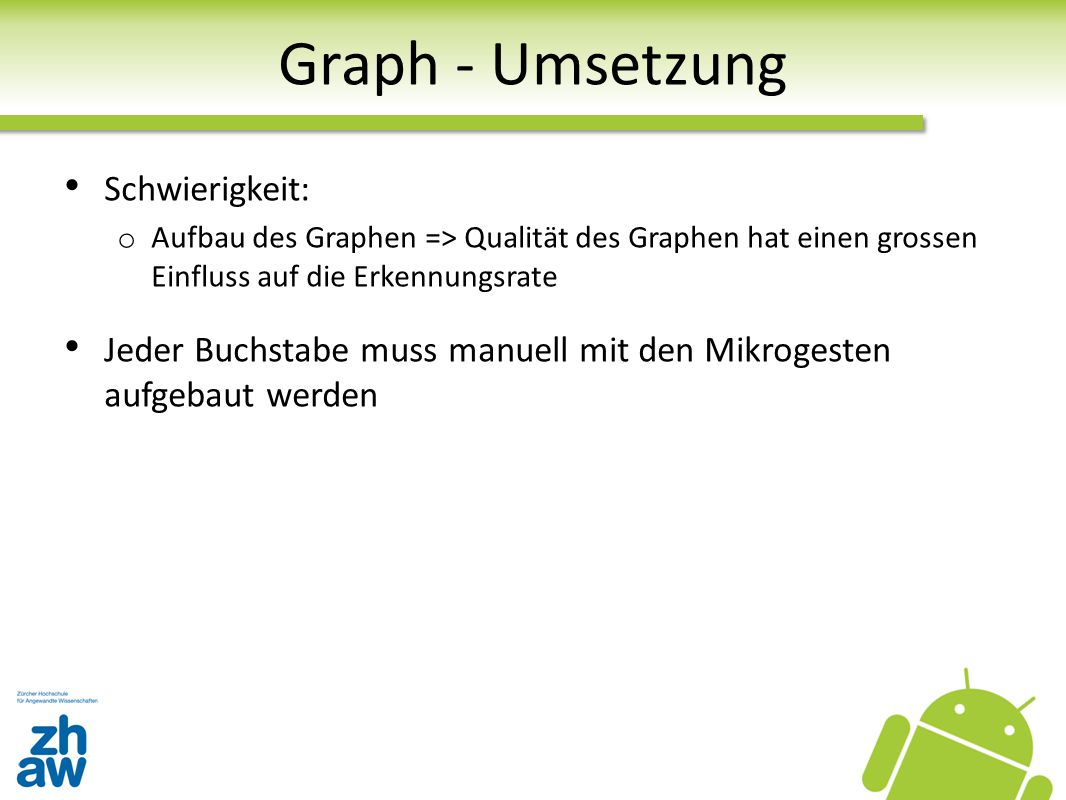 Graph - Umsetzung Schwierigkeit: o Aufbau des Graphen => Qualität des Graphen hat einen grossen Einfluss auf die Erkennungsrate Jeder Buchstabe muss m