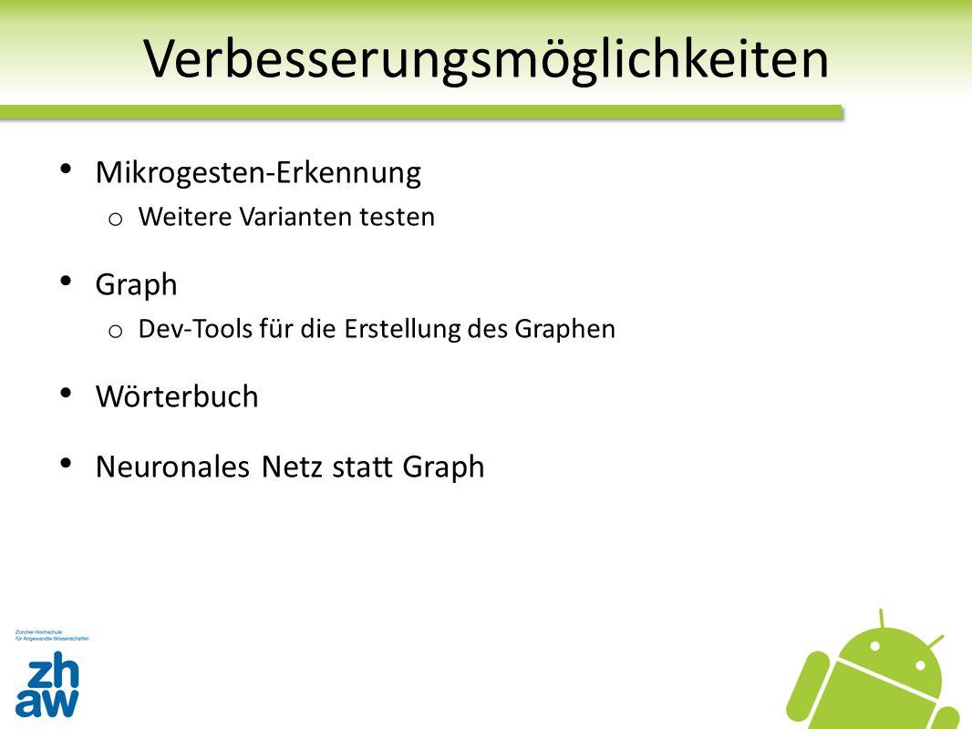 Verbesserungsmöglichkeiten Mikrogesten-Erkennung o Weitere Varianten testen Graph o Dev-Tools für die Erstellung des Graphen Wörterbuch Neuronales Net