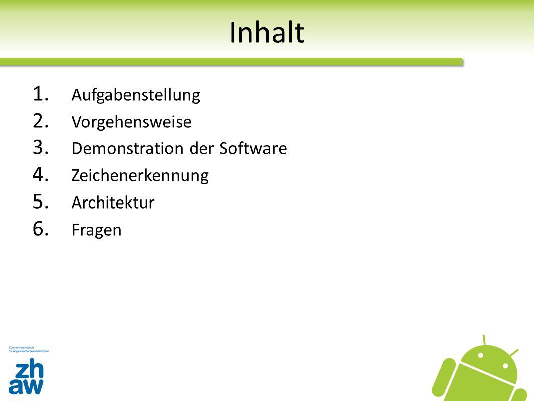 Inhalt 1. Aufgabenstellung 2. Vorgehensweise 3. Demonstration der Software 4. Zeichenerkennung 5. Architektur 6. Fragen
