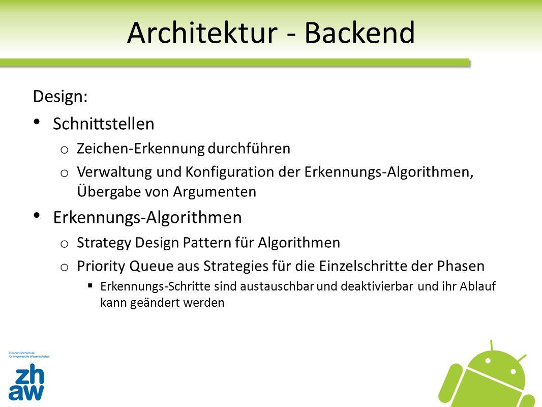 Architektur - Backend Design: Schnittstellen o Zeichen-Erkennung durchführen o Verwaltung und Konfiguration der Erkennungs-Algorithmen, Übergabe von A