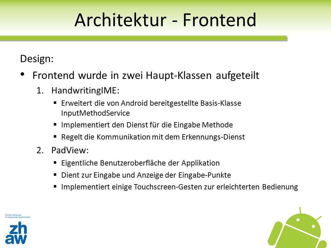 Architektur - Frontend Design: Frontend wurde in zwei Haupt-Klassen aufgeteilt 1.HandwritingIME:  Erweitert die von Android bereitgestellte Basis-Kla