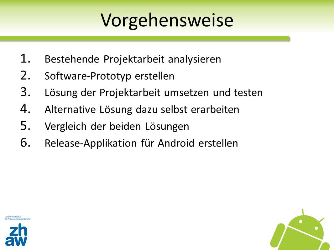 Vorgehensweise 1. Bestehende Projektarbeit analysieren 2. Software-Prototyp erstellen 3. Lösung der Projektarbeit umsetzen und testen 4. Alternative L