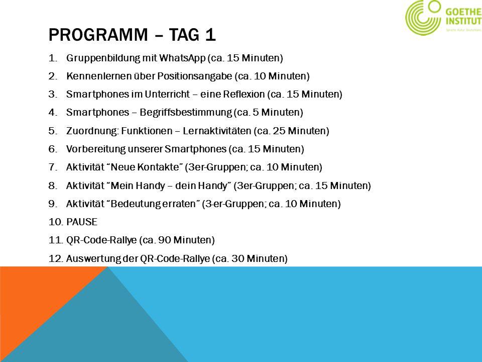 PROGRAMM – TAG 1 1.Gruppenbildung mit WhatsApp (ca. 15 Minuten) 2.Kennenlernen über Positionsangabe (ca. 10 Minuten) 3.Smartphones im Unterricht – ein