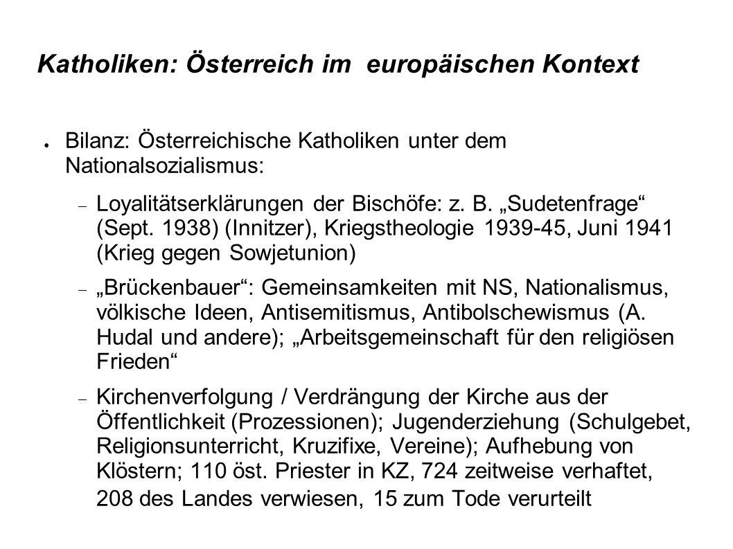 Katholiken: Österreich im europäischen Kontext ● Bilanz: Österreichische Katholiken unter dem Nationalsozialismus:  Loyalitätserklärungen der Bischöfe: z.