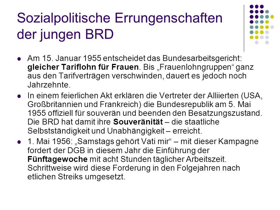 """Sozialpolitische Errungenschaften der jungen BRD Am 15. Januar 1955 entscheidet das Bundesarbeitsgericht: gleicher Tariflohn für Frauen. Bis """"Frauenlo"""