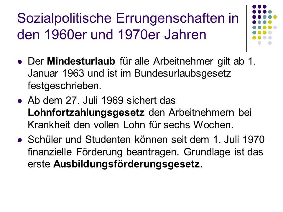 Sozialpolitische Errungenschaften in den 1960er und 1970er Jahren Der Mindesturlaub für alle Arbeitnehmer gilt ab 1. Januar 1963 und ist im Bundesurla