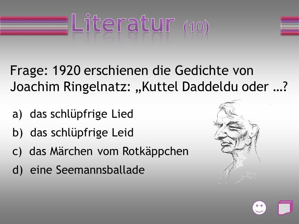 Frage: Goethes Faust ist … a) Ein Drama b) Eine Komödie c) Eine Romanze d) Eine Tragödie