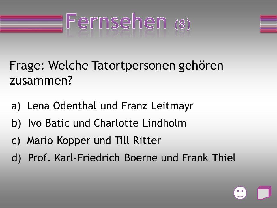 Frage: Wie heißen die Moderatoren beim FRF? a) Willi und Lilli b) Karl-Heinz und Kerstin c) Wolfram und Roberta d) Toto und Harry