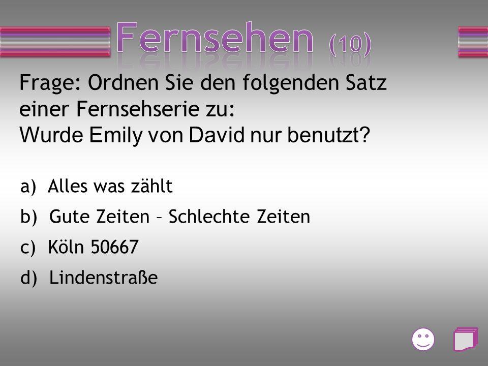 Frage: Welche Tatortpersonen gehören zusammen? a)Lena Odenthal und Franz Leitmayr b) Ivo Batic und Charlotte Lindholm c) Mario Kopper und Till Ritter