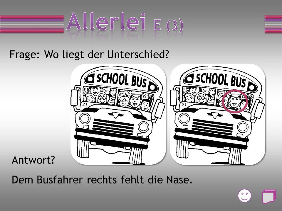 Frage: Wo liegt der Unterschied? Antwort? Dem Busfahrer rechts fehlt die Nase.