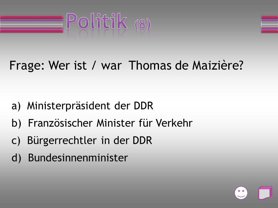 Frage: Welche Bundesministerin ist für Arbeit und Soziales zuständig? a) Ursula von der Leyen b) Andrea Nahles c) Manuela Schwesig d) Johanna Wanka