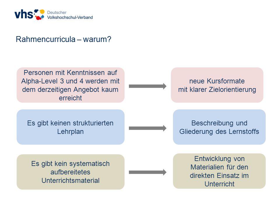 Es gibt keinen strukturierten Lehrplan Es gibt kein systematisch aufbereitetes Unterrichtsmaterial Personen mit Kenntnissen auf Alpha-Level 3 und 4 werden mit dem derzeitigen Angebot kaum erreicht Rahmencurricula – warum.