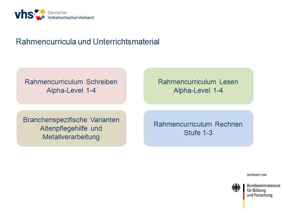 Rahmencurriculum Rechnen Stufe 1-3 Rahmencurricula und Unterrichtsmaterial Branchenspezifische Varianten Altenpflegehilfe und Metallverarbeitung Rahmencurriculum Schreiben Alpha-Level 1-4 Rahmencurriculum Lesen Alpha-Level 1-4