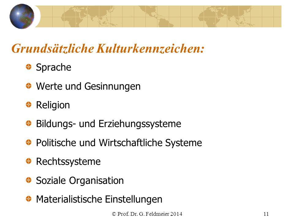 Grundsätzliche Kulturkennzeichen: Sprache Werte und Gesinnungen Religion Bildungs- und Erziehungssysteme Politische und Wirtschaftliche Systeme Rechts