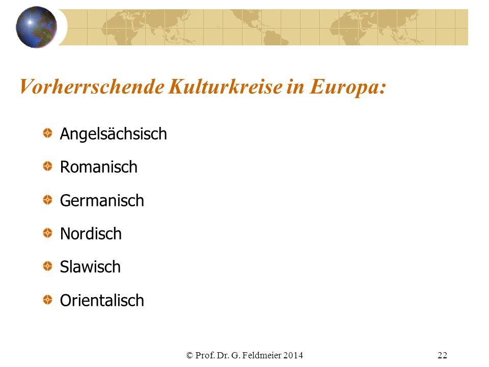 Vorherrschende Kulturkreise in Europa: Angelsächsisch Romanisch Germanisch Nordisch Slawisch Orientalisch © Prof. Dr. G. Feldmeier 201422