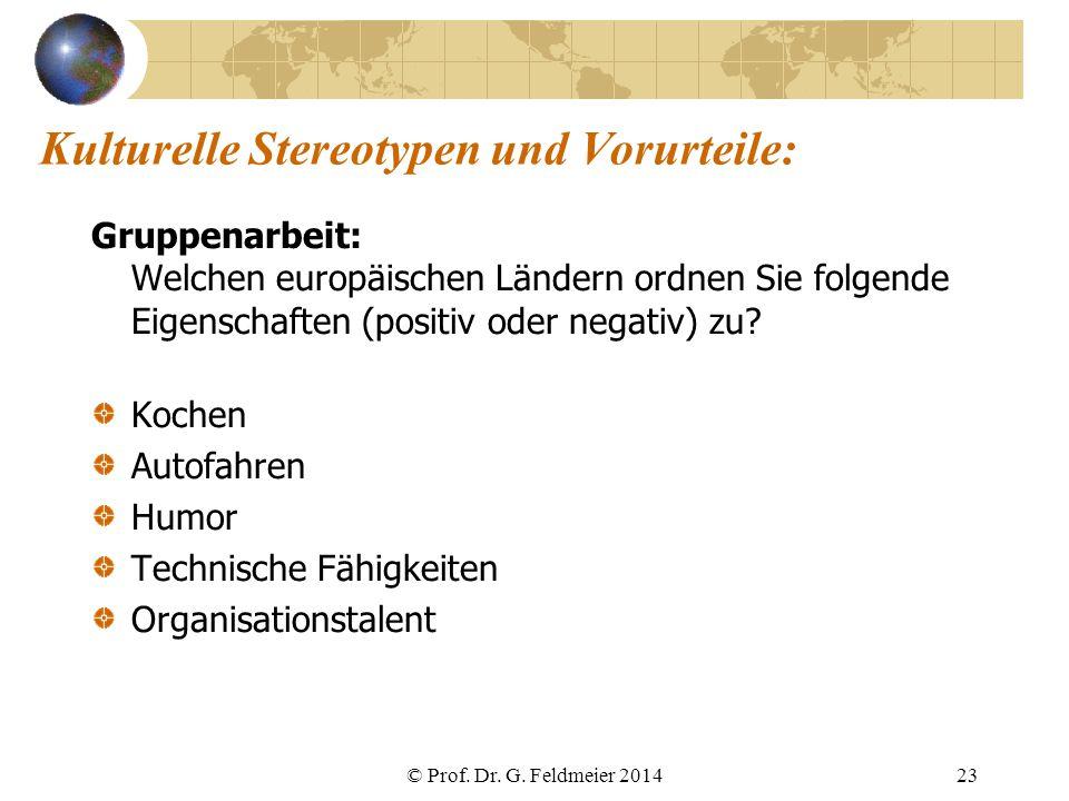 Kulturelle Stereotypen und Vorurteile: Gruppenarbeit: Welchen europäischen Ländern ordnen Sie folgende Eigenschaften (positiv oder negativ) zu? Kochen