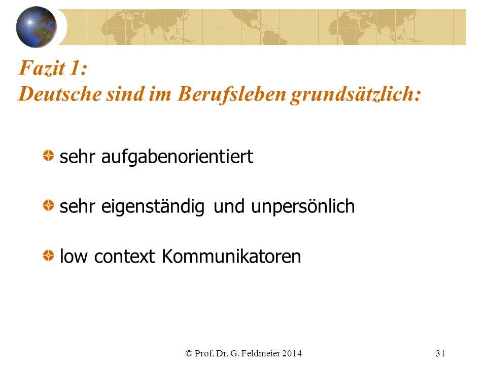 Fazit 1: Deutsche sind im Berufsleben grundsätzlich: sehr aufgabenorientiert sehr eigenständig und unpersönlich low context Kommunikatoren © Prof. Dr.
