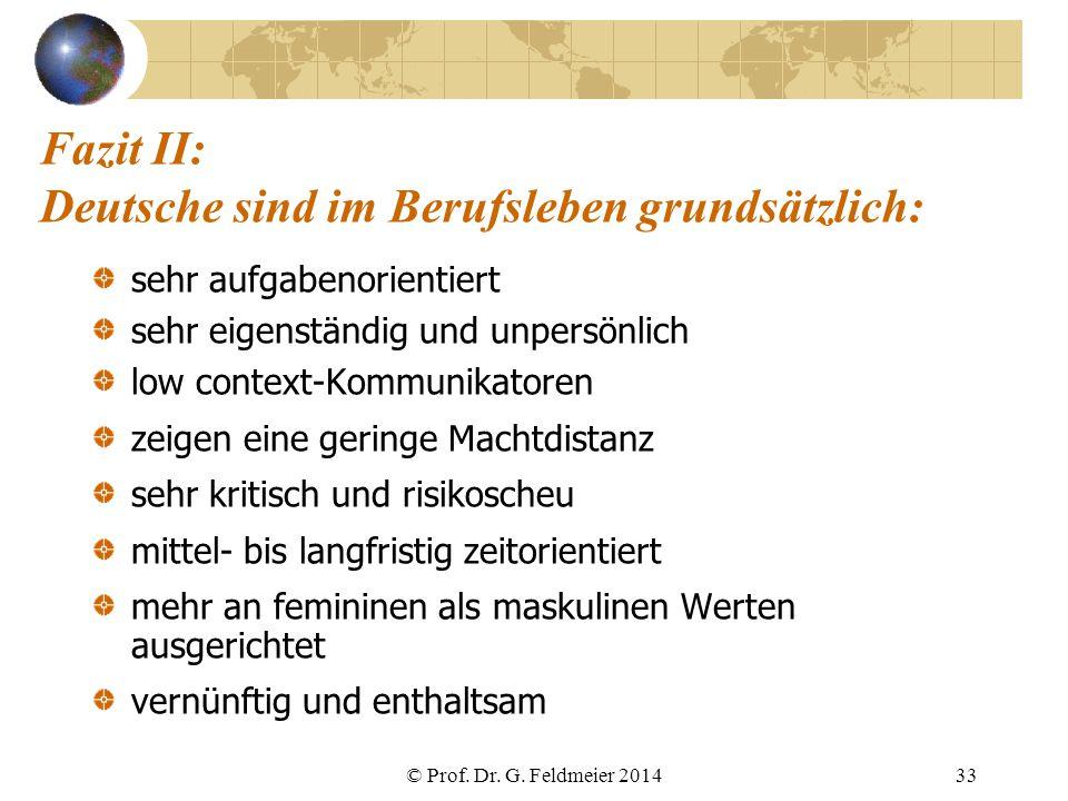 Fazit II: Deutsche sind im Berufsleben grundsätzlich: sehr aufgabenorientiert sehr eigenständig und unpersönlich low context-Kommunikatoren zeigen ein