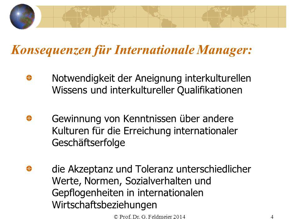 Konsequenzen für Internationale Manager: Notwendigkeit der Aneignung interkulturellen Wissens und interkultureller Qualifikationen Gewinnung von Kennt