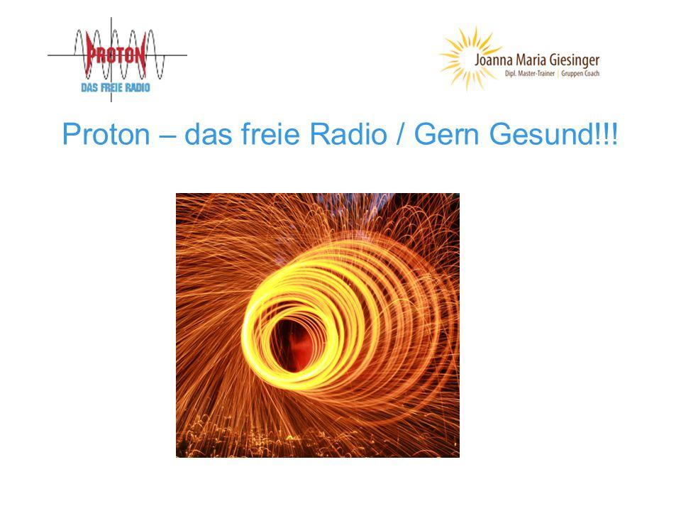 Proton – das freie Radio seit 01.04.1999 Ist ein freies, unkommerzielles Community-Radio Es bietet open access für jeden UKW 104,6 Bludenz/Walgau/Montafon UKW 104,3 Feldkirch/Göfis/Vorderland Weltweit: www.radioproton.at Studio ist in der Jahngasse 10, A-6850 Dornbirn Tel.Nr.