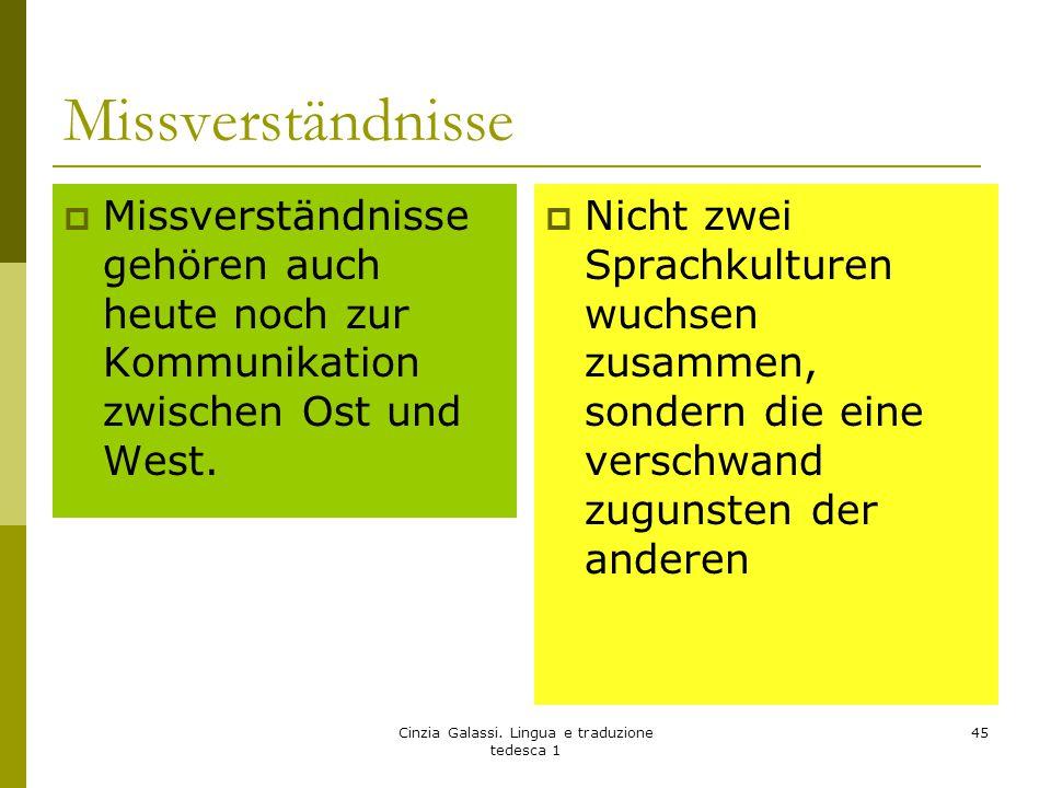 Missverständnisse  Missverständnisse gehören auch heute noch zur Kommunikation zwischen Ost und West.  Nicht zwei Sprachkulturen wuchsen zusammen, s