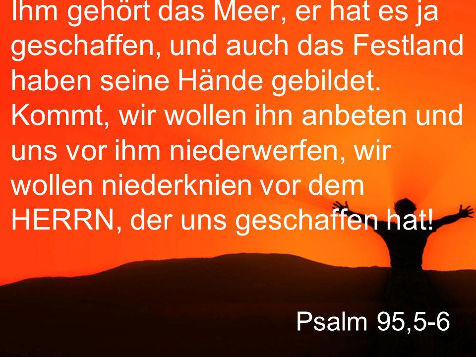 Psalm 95,7 Denn er ist unser Gott, und wir sind sein Volk, die Schafe auf seiner Weide, er leitet uns mit eigener Hand.
