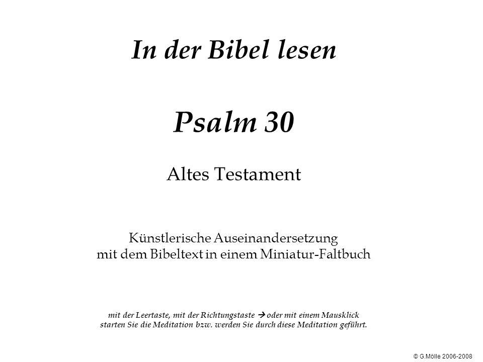 In der Bibel lesen Psalm 30 Altes Testament Künstlerische Auseinandersetzung mit dem Bibeltext in einem Miniatur-Faltbuch mit der Leertaste, mit der R