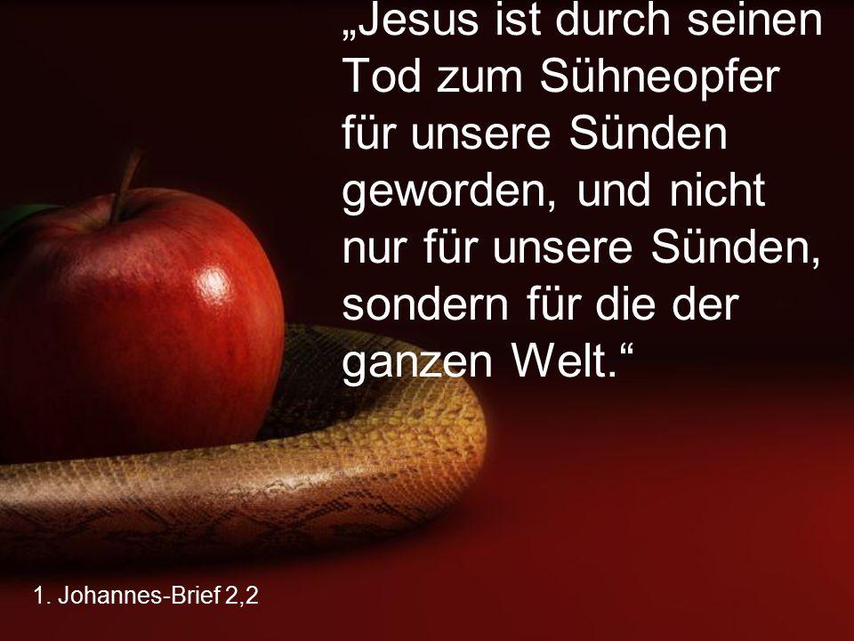 """1. Johannes-Brief 2,2 """"Jesus ist durch seinen Tod zum Sühneopfer für unsere Sünden geworden, und nicht nur für unsere Sünden, sondern für die der ganz"""