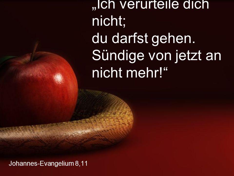 """Johannes-Evangelium 8,11 """"Ich verurteile dich nicht; du darfst gehen. Sündige von jetzt an nicht mehr!"""""""