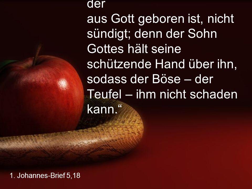 """1. Johannes-Brief 5,18 """"Wir wissen, dass jemand, der aus Gott geboren ist, nicht sündigt; denn der Sohn Gottes hält seine schützende Hand über ihn, so"""