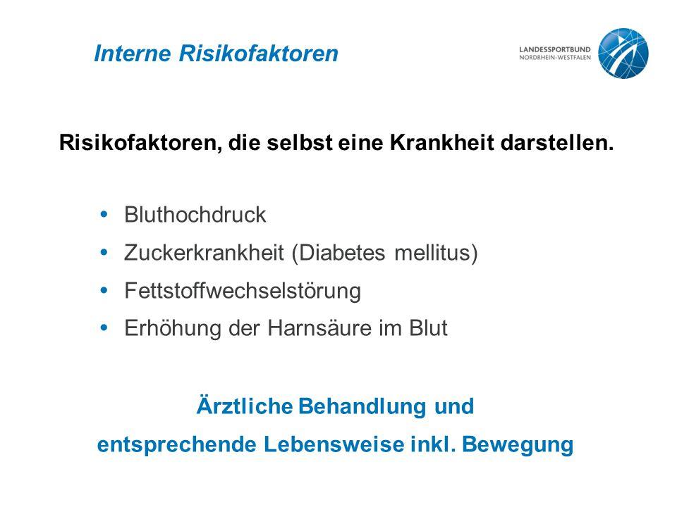 Interne Risikofaktoren  Bluthochdruck  Zuckerkrankheit (Diabetes mellitus)  Fettstoffwechselstörung  Erhöhung der Harnsäure im Blut Risikofaktoren