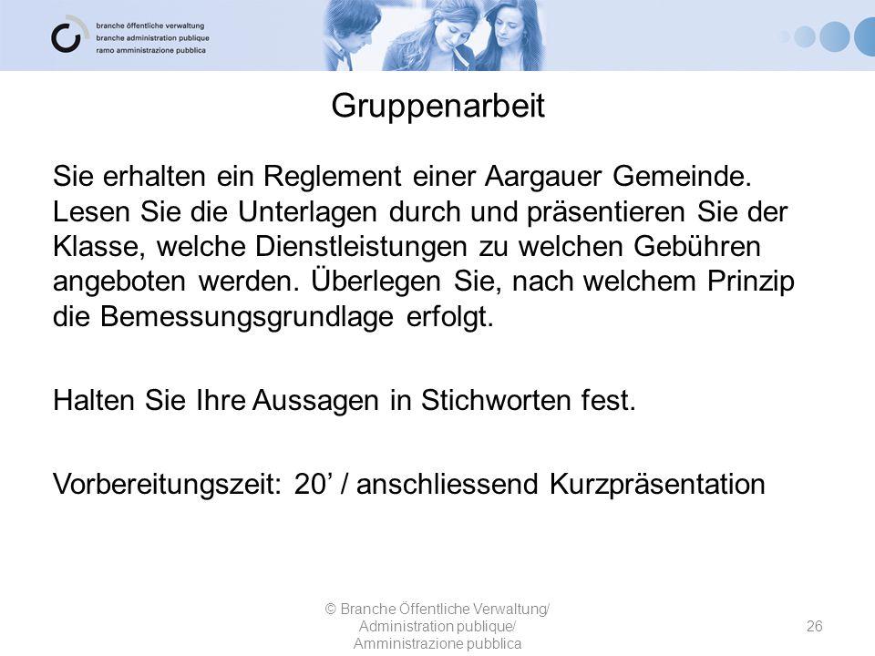 Gruppenarbeit Sie erhalten ein Reglement einer Aargauer Gemeinde. Lesen Sie die Unterlagen durch und präsentieren Sie der Klasse, welche Dienstleistun