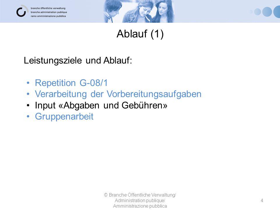 Ablauf (1) Leistungsziele und Ablauf: Repetition G-08/1 Verarbeitung der Vorbereitungsaufgaben Input «Abgaben und Gebühren» Gruppenarbeit © Branche Öf