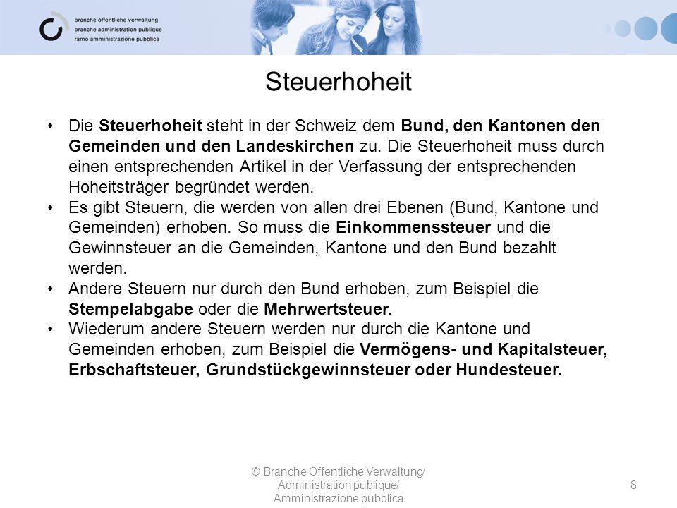 Steuerhoheit 8 © Branche Öffentliche Verwaltung/ Administration publique/ Amministrazione pubblica Die Steuerhoheit steht in der Schweiz dem Bund, den