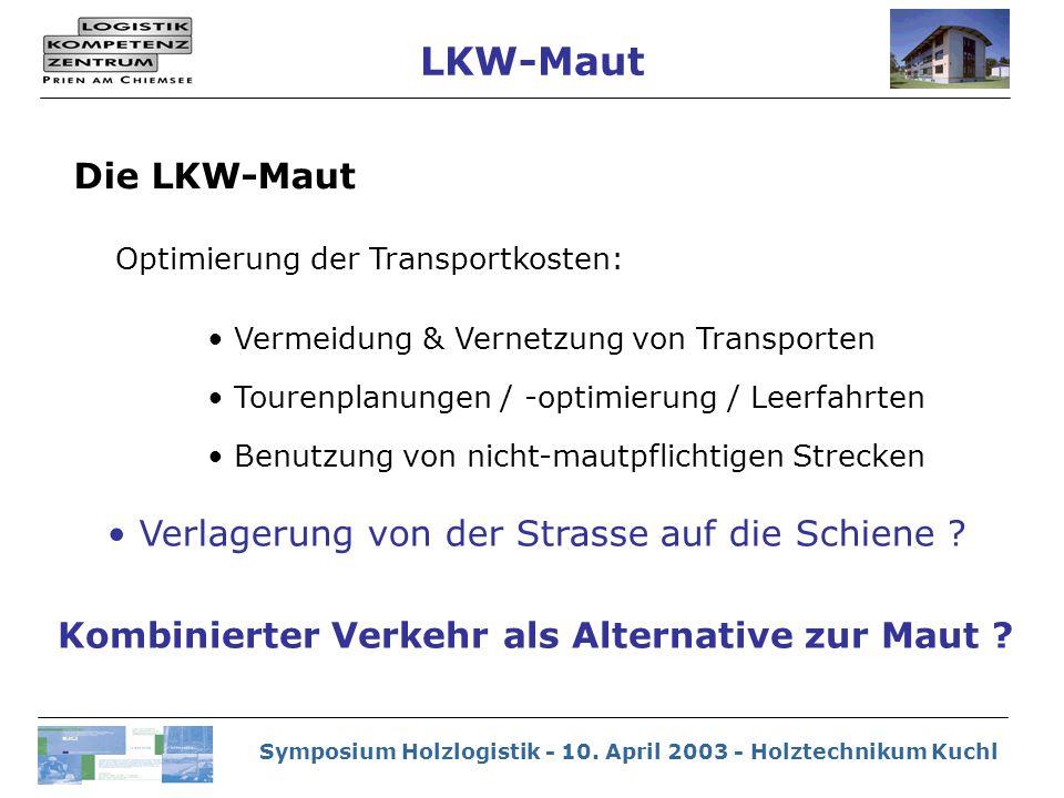 Symposium Holzlogistik - 10. April 2003 - Holztechnikum Kuchl Optimierung der Transportkosten: Vermeidung & Vernetzung von Transporten Tourenplanungen