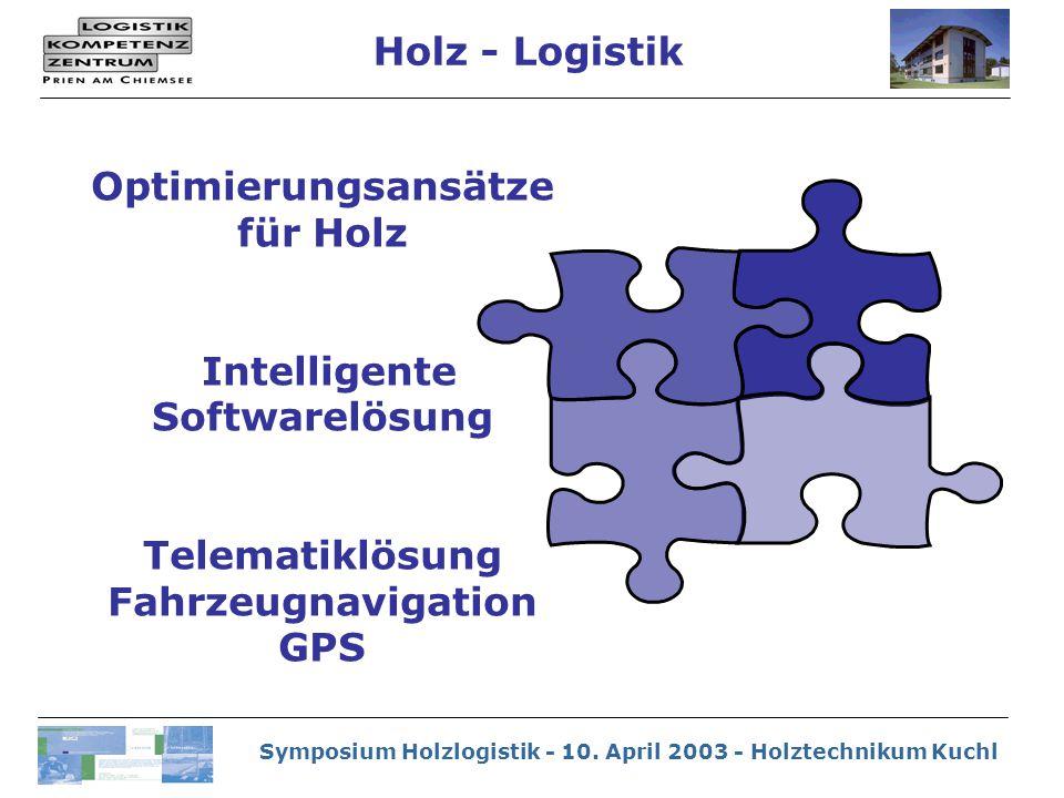 Symposium Holzlogistik - 10. April 2003 - Holztechnikum Kuchl Holz - Logistik Optimierungsansätze für Holz Intelligente Softwarelösung Telematiklösung