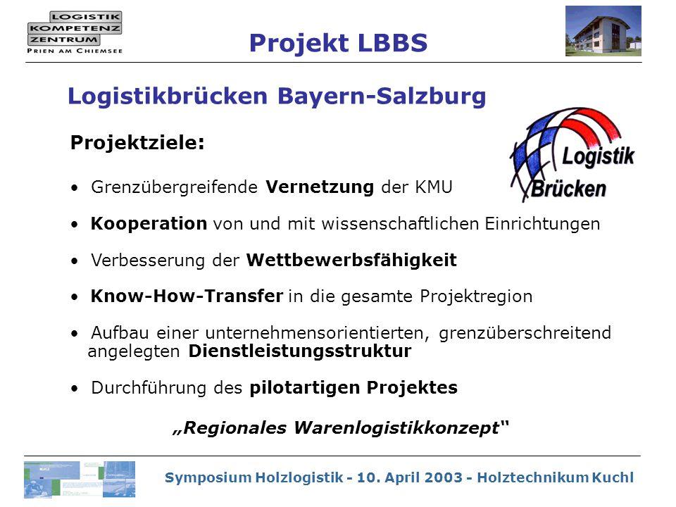 Symposium Holzlogistik - 10. April 2003 - Holztechnikum Kuchl Logistikbrücken Bayern-Salzburg Projektziele : Grenzübergreifende Vernetzung der KMU Koo