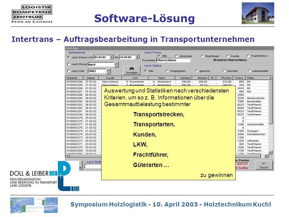 Symposium Holzlogistik - 10. April 2003 - Holztechnikum Kuchl Auswertung und Statistiken nach verschiedensten Kriterien, um so z. B. Informationen übe