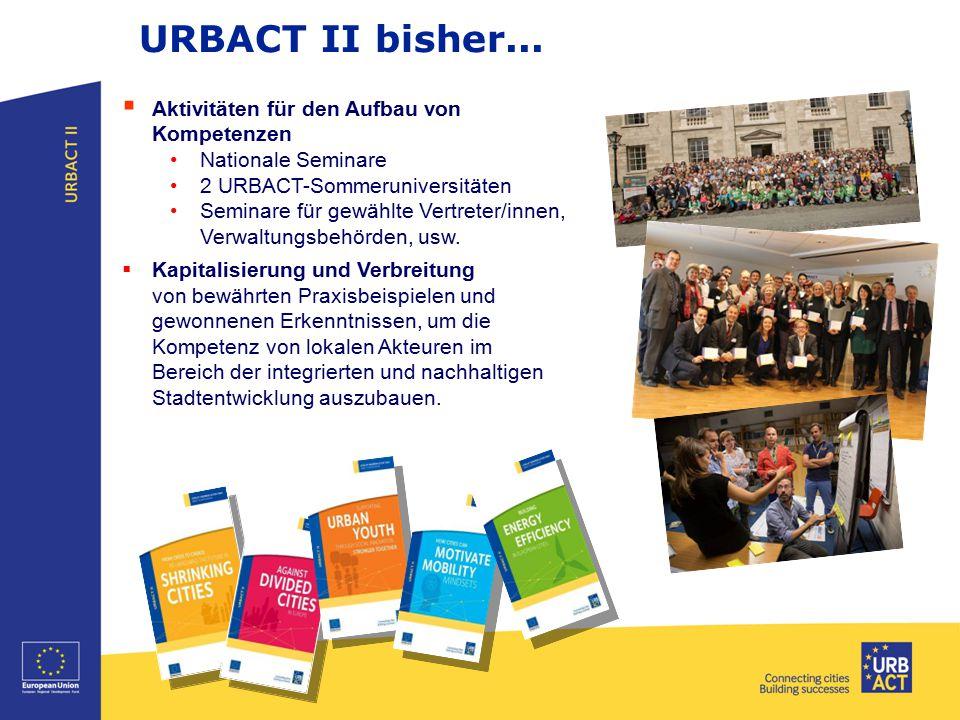 URBACT II bisher...  Aktivitäten für den Aufbau von Kompetenzen Nationale Seminare 2 URBACT-Sommeruniversitäten Seminare für gewählte Vertreter/innen