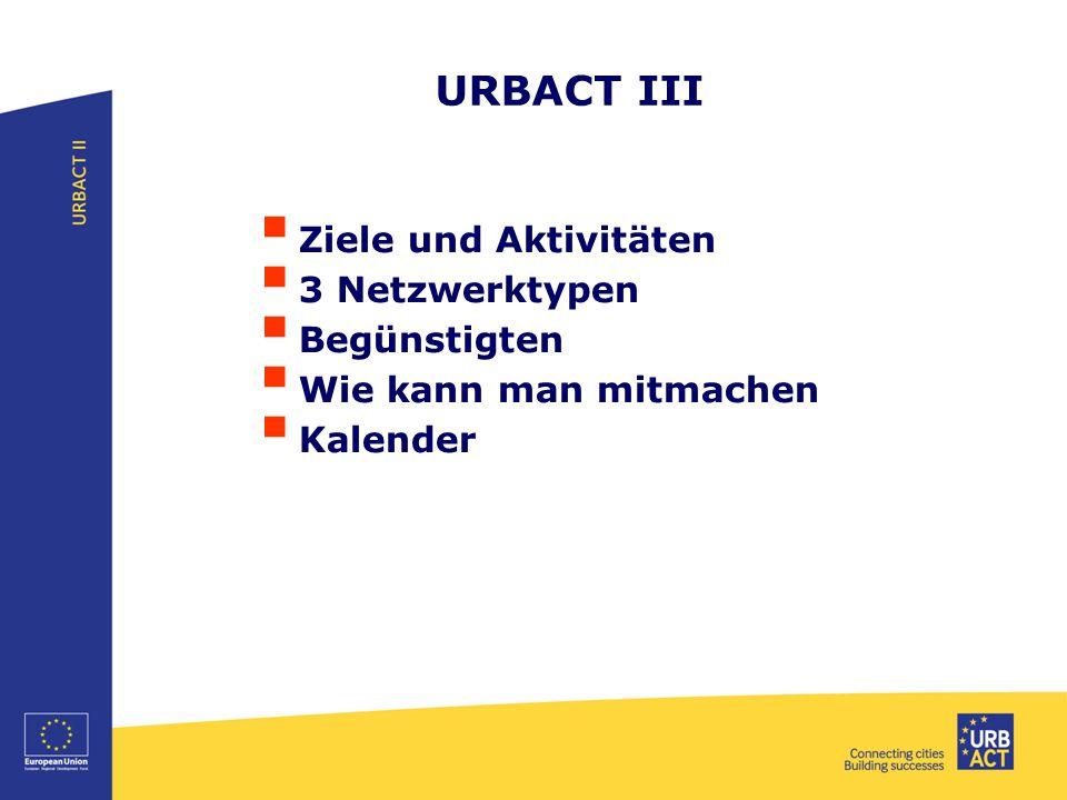 URBACT III  Ziele und Aktivitäten  3 Netzwerktypen  Begünstigten  Wie kann man mitmachen  Kalender