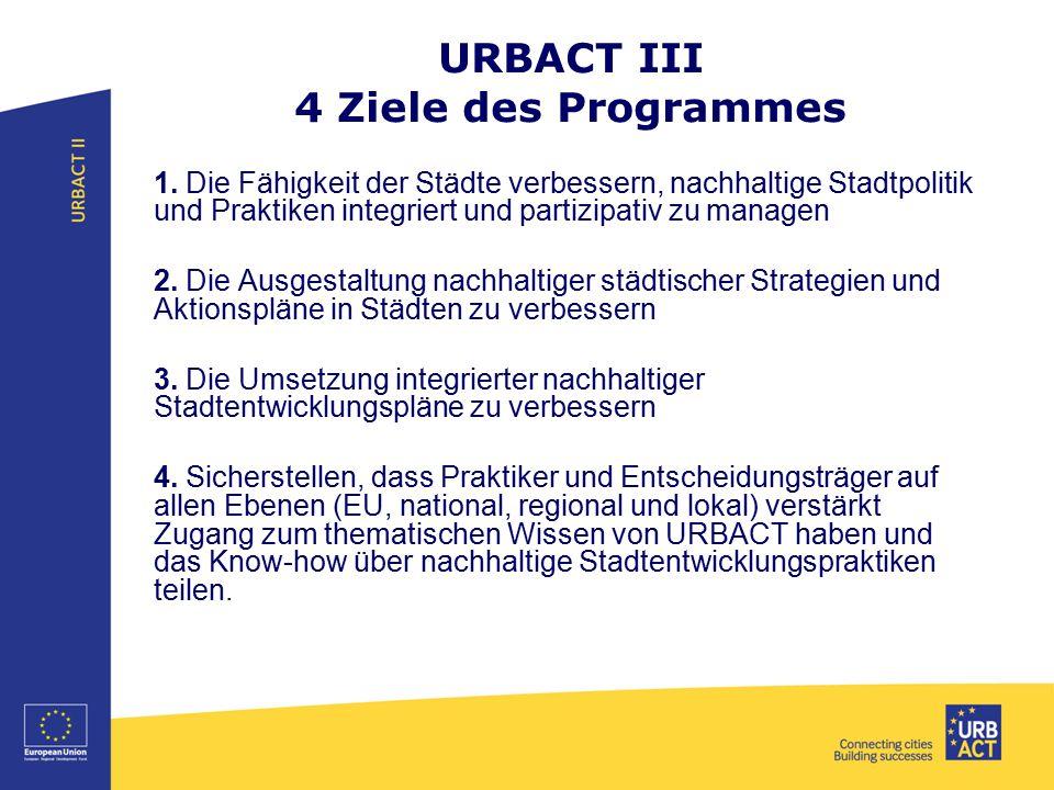 URBACT III 4 Ziele des Programmes 1. Die Fähigkeit der Städte verbessern, nachhaltige Stadtpolitik und Praktiken integriert und partizipativ zu manage